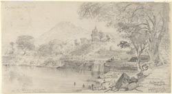 Water-fall on the Karamnasa river and Latif Shah's Durga near Chakia (U.P.). 20 January 1870